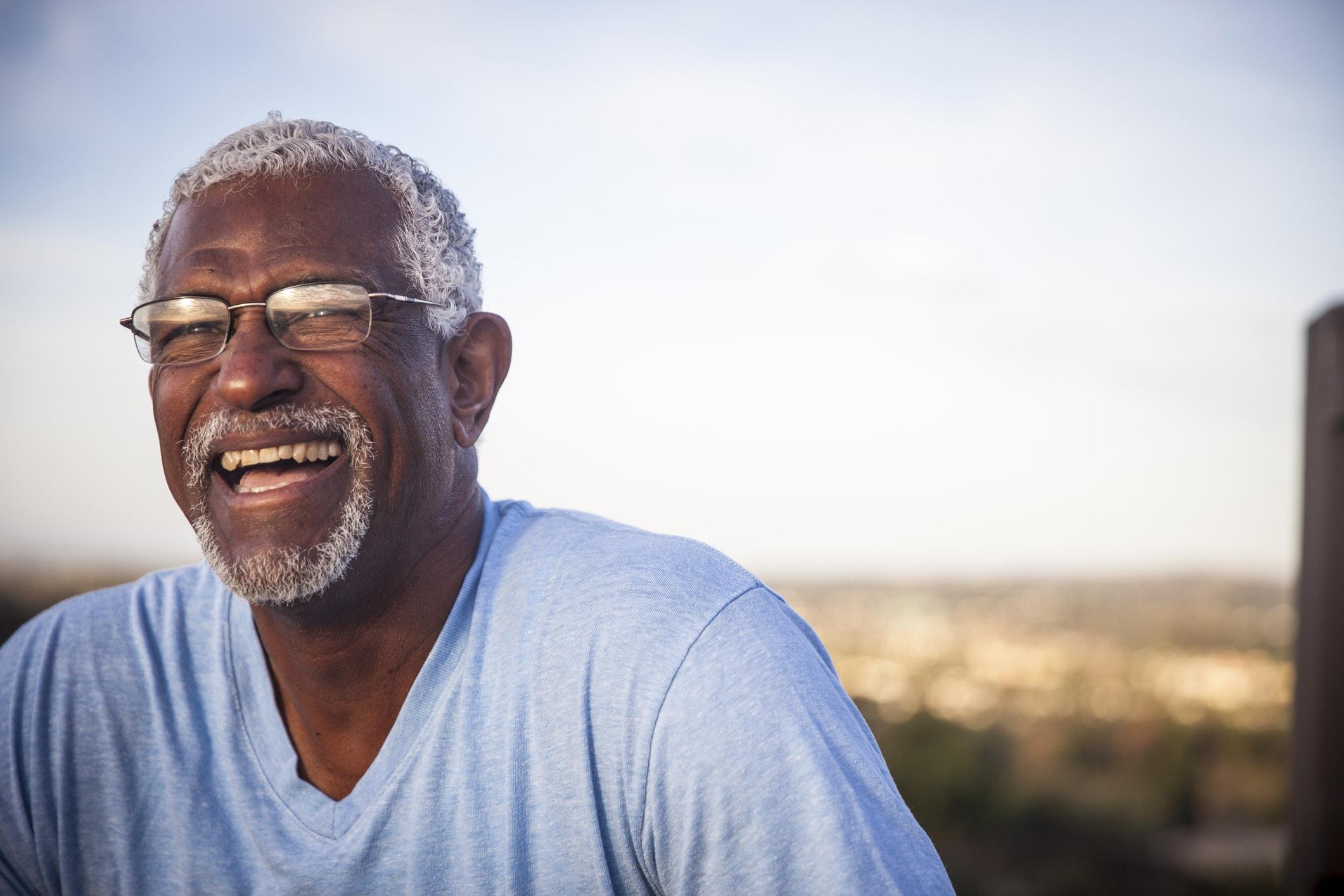 Elder man smiling